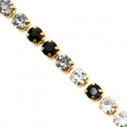 Catena strass nero cristallo-oro