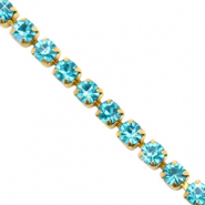 Catena strass blu turchese-oro