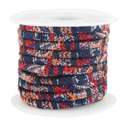 Trendy gestikt koord 4x3mm Multicolor dark blue-red-orange