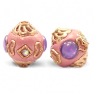 Perline in stile bohémien 14 mm rosa pastello - viola oro